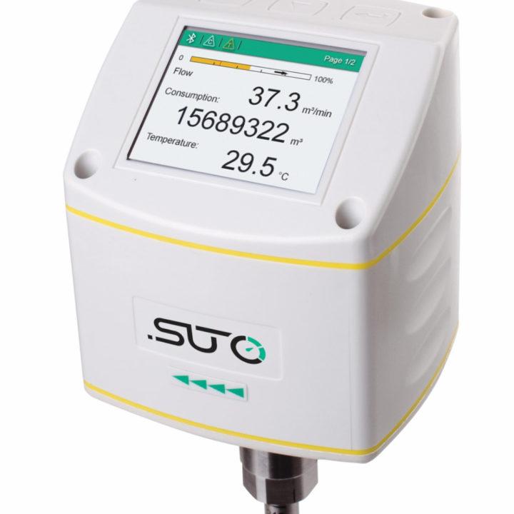 sűrített levegő áramlásmérő kijelző, térfogatáram, mennyiség, hőmérséklet
