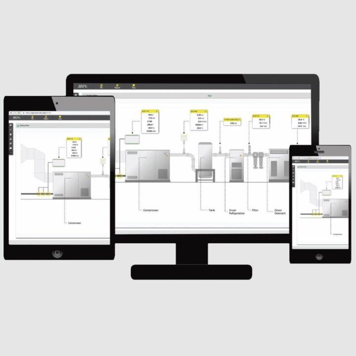 sűrített levegő szoftver monitoron, tableten, telefonon
